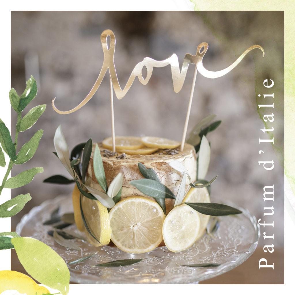 thème à personnaliser parfum d'italie - création originale, végétale, citrons jaunes et verts - les petits papiers du Bonheur...