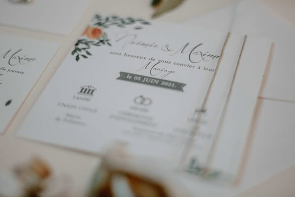 faire-part sur mesure thème abricot du languedoc et oliviers coloris orange verts blanc les petits papiers du bonheur