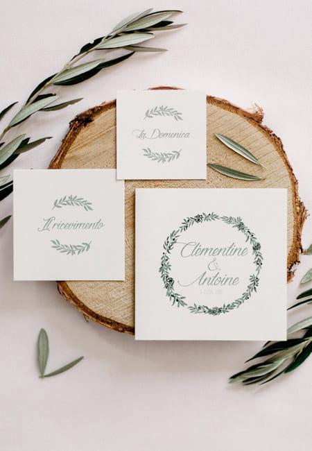faire-part sur mesure couronne olivier gypsophile mariage italien les petits papiers du bonheur crédit photo soufiane zaidi
