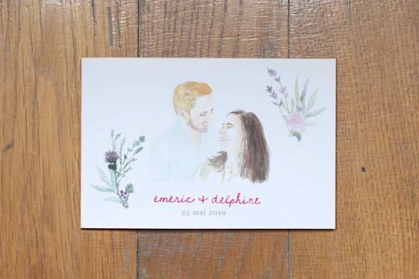 carte voeux de bonheur pour mariés aquarelle sur mesure portraits les petits papiers du bonheur